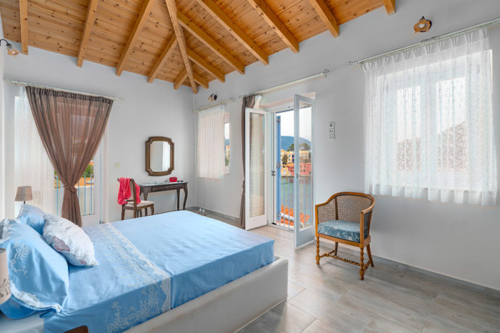 Villa Petrino double bed bedroom with view