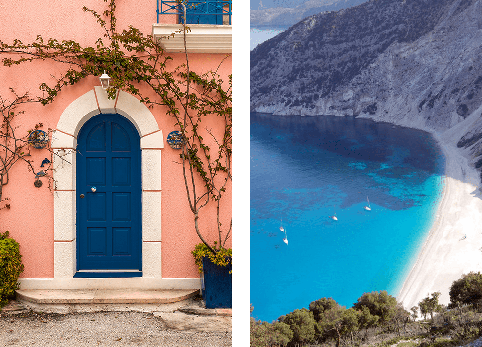 Collage: Assos village doors and Myrtos beach top view