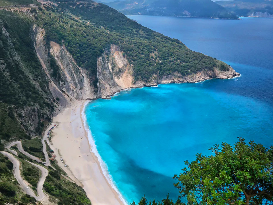 Top view of Myrtos beach near Assos
